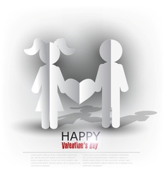 White paper men and woman with heart on red vector