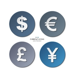 Set of currency icons dollar euro pound yen vector