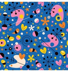 Funky cartoon retro pattern vector