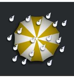 Modern yellow umbrella with drops vector