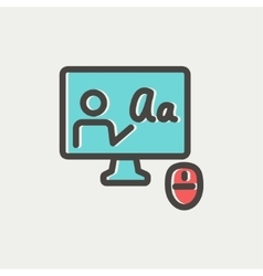 Laptop and mouse in online tutorial thin line icon vector