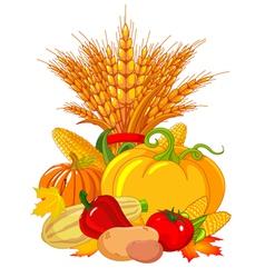 Seasonal design with plump pumpkins wheat vegetabl vector