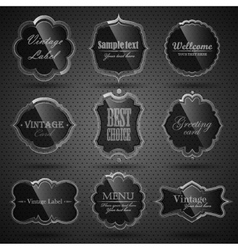 Set of glass labels vector