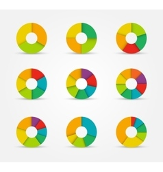 Segmented pie charts set from 3 to 8 divisions vector