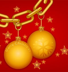 Glossy gold chain merry christmas vector