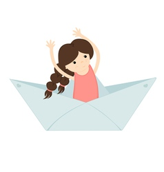 Girl floating on a paper boat vector