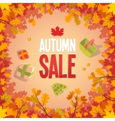 Autumn sale advertising poster vector