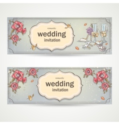 Set of horizontal banners wedding invitations with vector