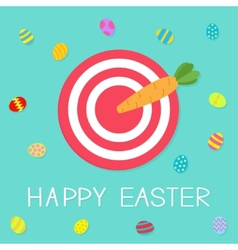 Target with carrot arrow and colored eggs happy vector