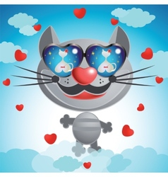 Smiling muzzle cat with glasses vector
