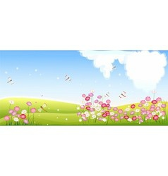Spring landscape with flower and dragonfly vector