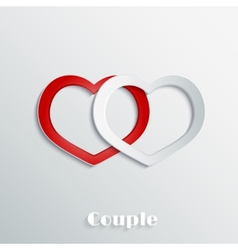 Abstract hearts 3d paper icon vector