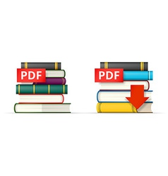 Pdf books stacks icons vector