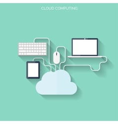 Flat cloud computing and social media background vector