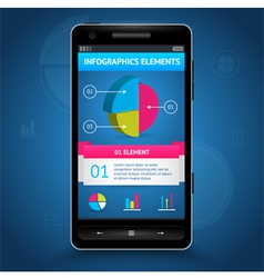 Info graphic diagram elements in phone vector
