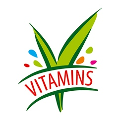 Logo vitamins green leaves vector