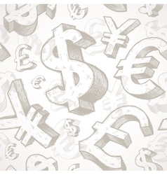 Hand drawn currency signs vector