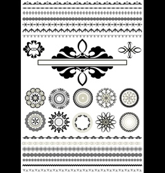 Round ornaments and border vector