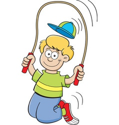 Cartoon boy using a jump rope vector