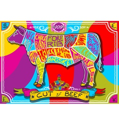 Vintage english cut of beef in happy rainbow vector