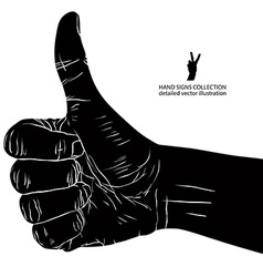 Thumb up hand sign detailed black and white vector