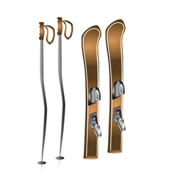 Skis and ski poles vector