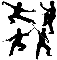 Kung fu fighter silhouette vector