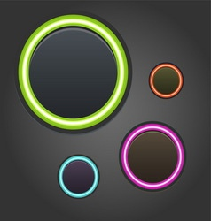 Colorful glowing buttons on dark background vector