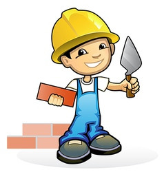 Mason with trowel vector