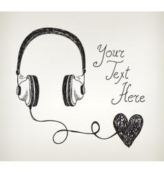 Retro hand drawn doodle headphones earphones with vector