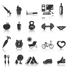 Black icons with reflection on health vector