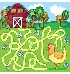 Funny maze game - cartoon chicken vector