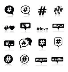 Hashtag social media icons set vector