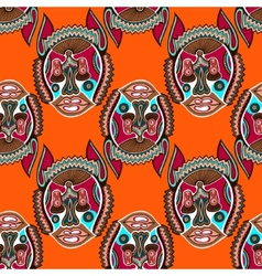 Seamless pattern fabric with unusual tribal animal vector
