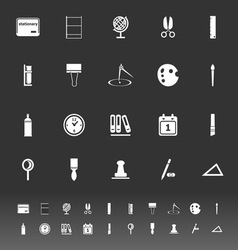 General stationary icons on gray background vector