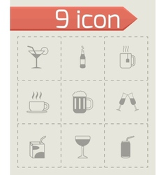 Black beverages icons set vector
