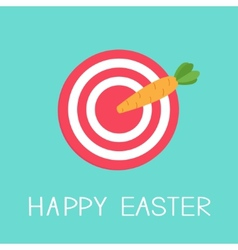 Target with carrot arrow happy easter card flat vector