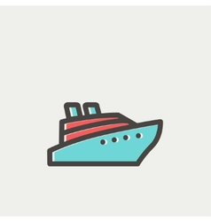 Cruise ship thin line icon vector