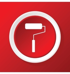 Paint roller icon on red vector