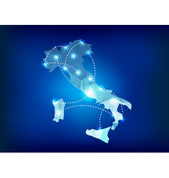 Italy country map polygonal with spot lights place vector