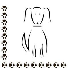 Silhouette dog footprints vector
