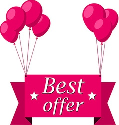 Best offer pink flat ribbon with balloons vector