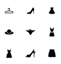 Woman wear 9 icons set vector