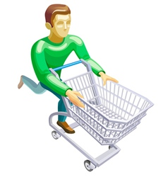 Man with a basket vector