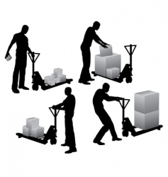 Workers loading boxes vector