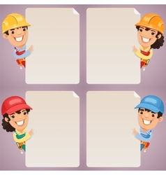 Builders cartoon characters looking at blank vector