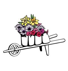 Wheelbarrow full of flowers vector