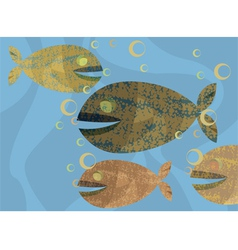 Underwater with fishes texture background vector