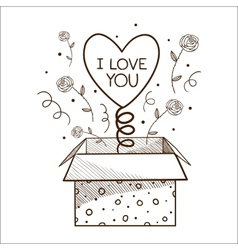 Present box with heart vector