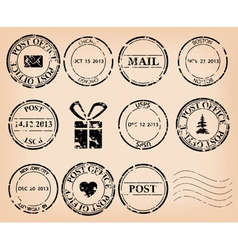 Set - black grungy post stamps vector